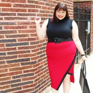 Red and Black Asymmetrical Pencil Skirt - sz 2X